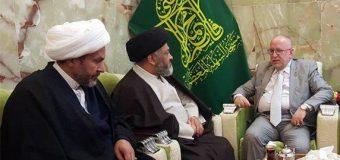 Members of the Office of Grand Ayatollah Shirazi Meet Custodian of Kufa Mosque.